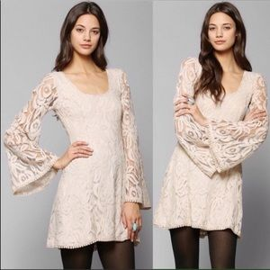 UO Staring At Stars Boho Bell Sleeve Lace Dress